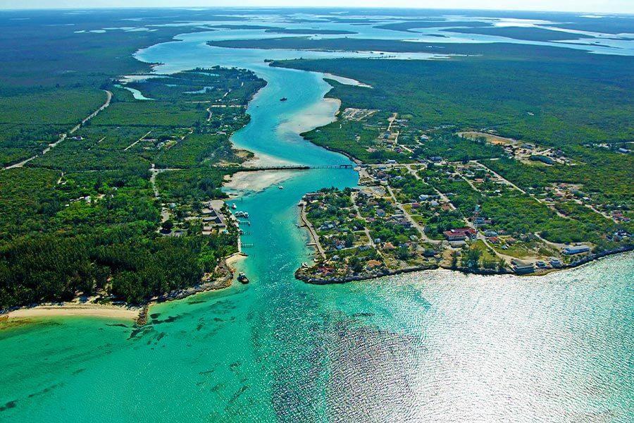 arial view of andros island bahamas